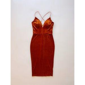 Orange Velour Mid-length Dress.